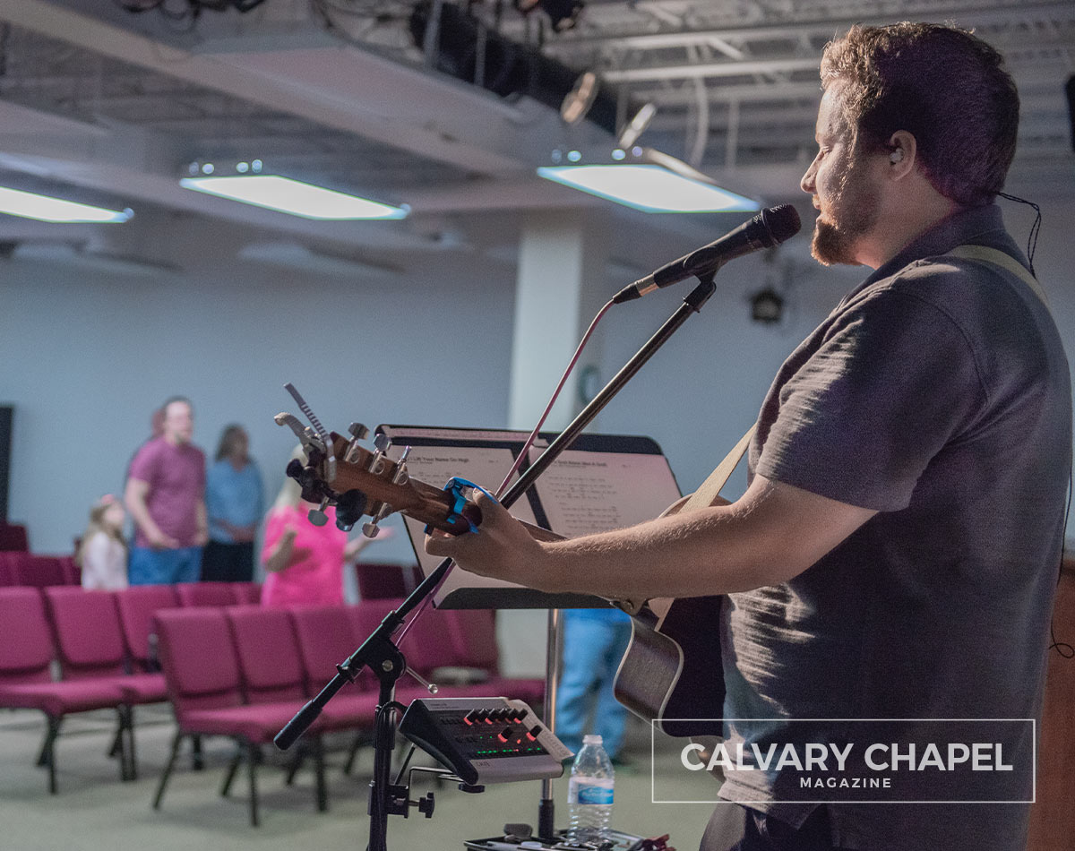 Caleb leads worship