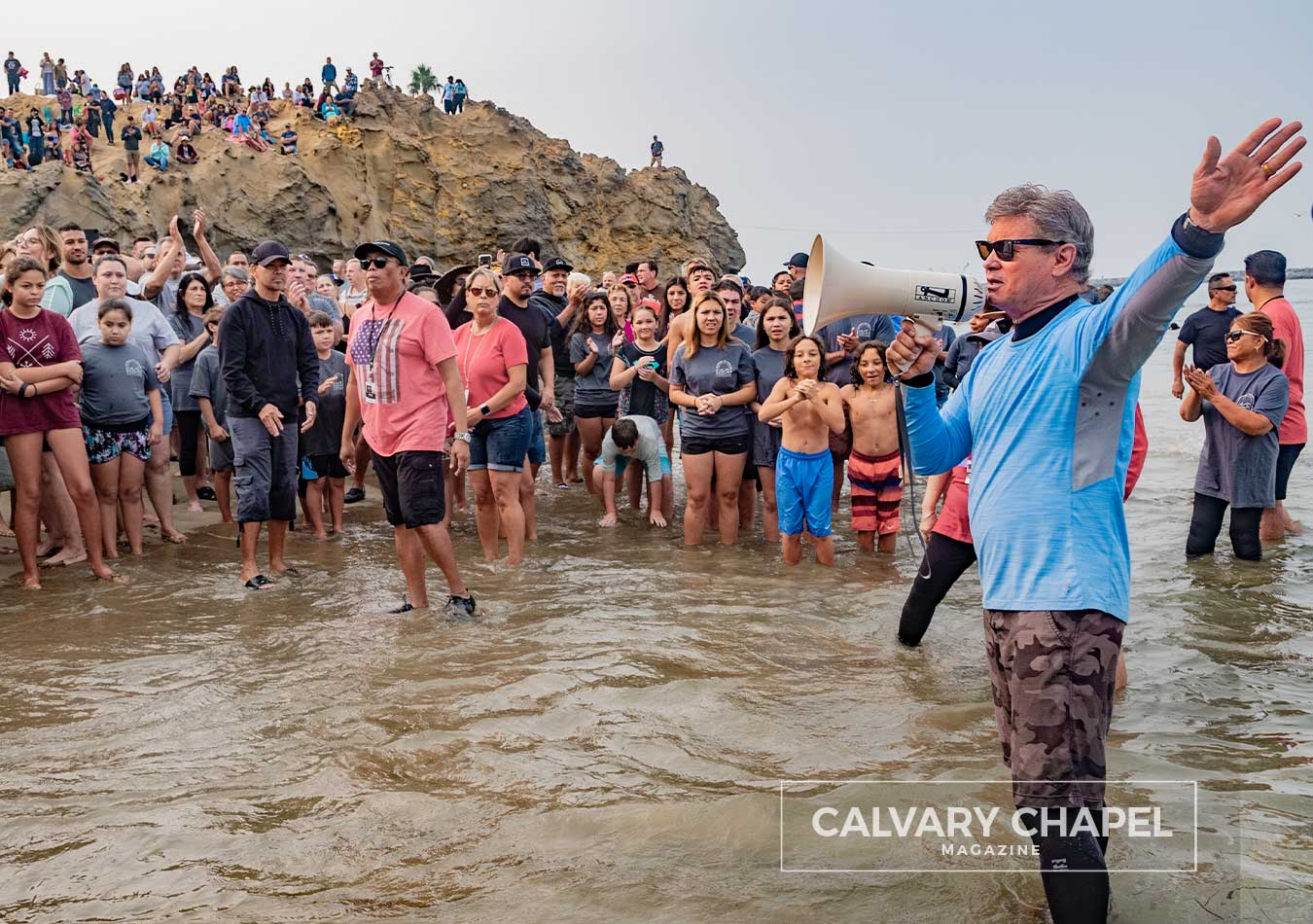 Pastor Jack speaks to massive amount of people at beach