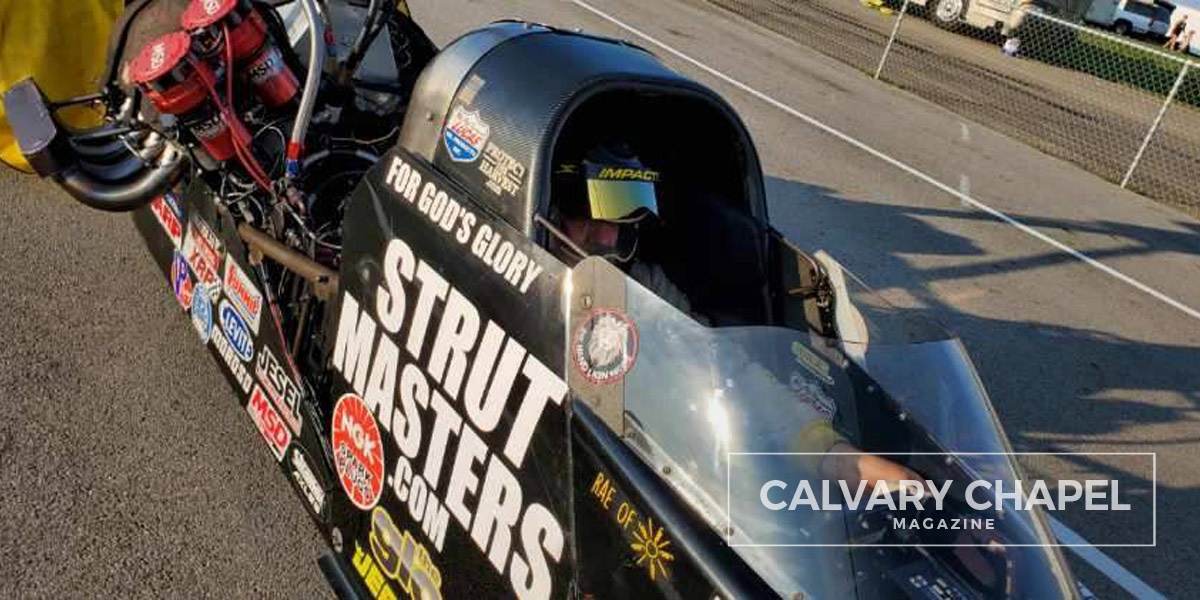 Mike Bucher driving his drag racer