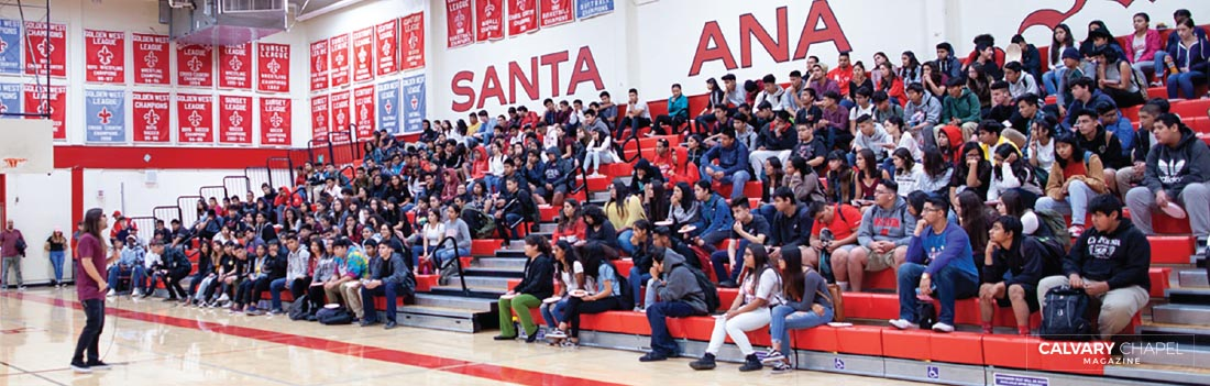 Ryan Ries shares the Gospel at Santa Ana High School, CA.