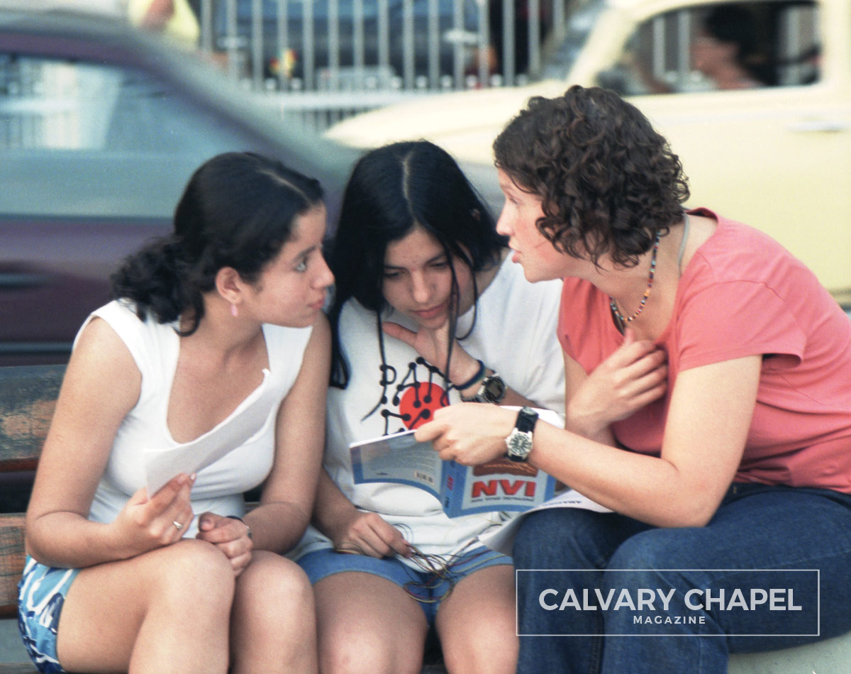 Sharing the Gospel with two women in Brazil