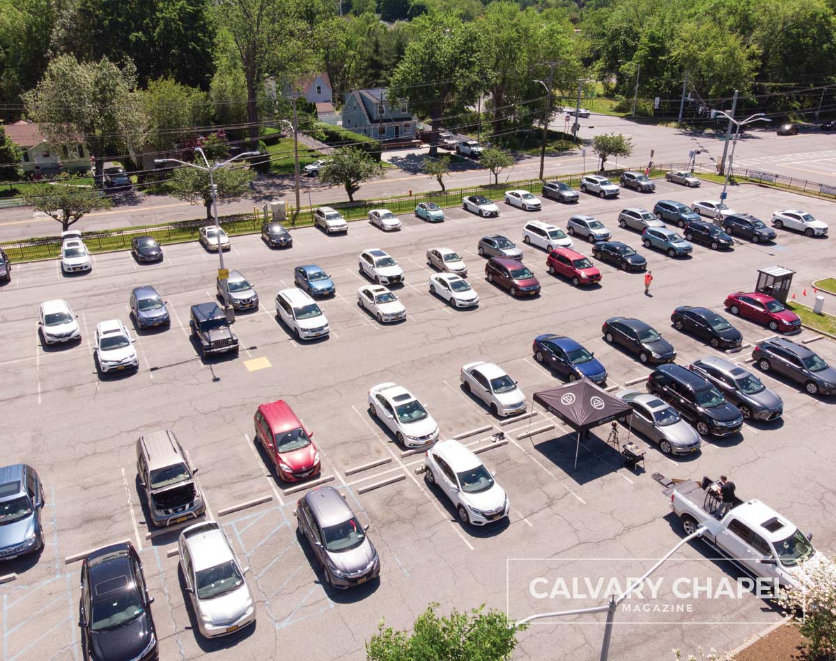Drone shot of parking lot